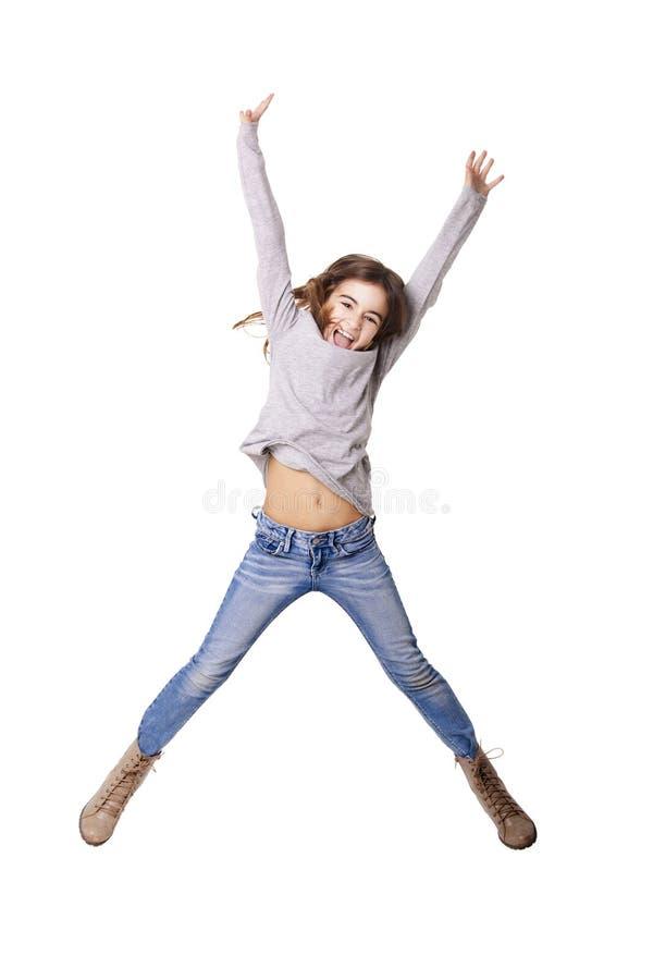 小女孩跳跃 图库摄影