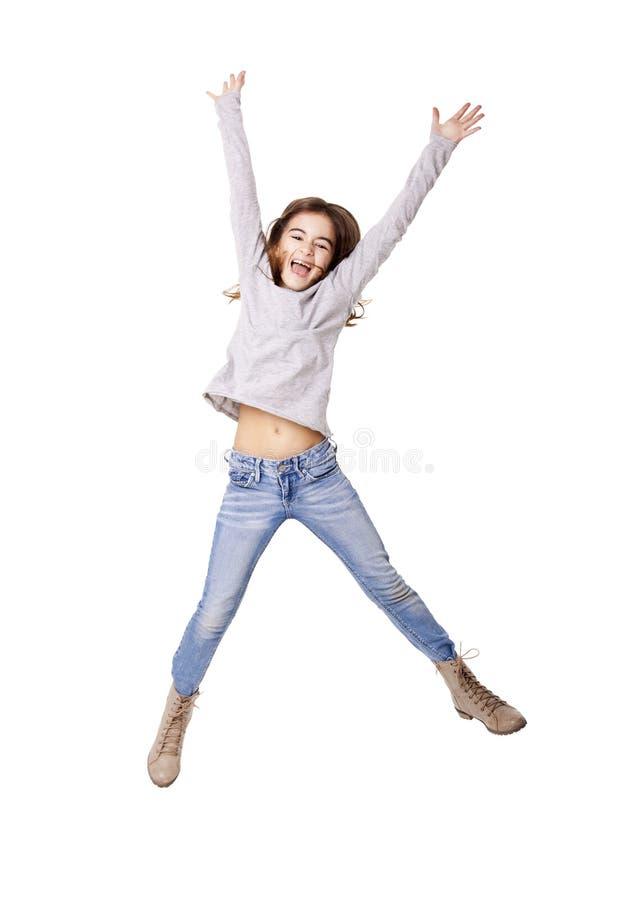小女孩跳跃 库存照片