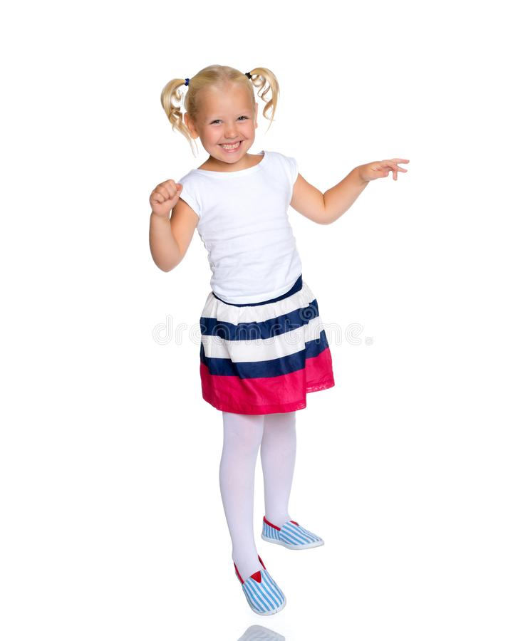 小女孩跳 免版税库存照片