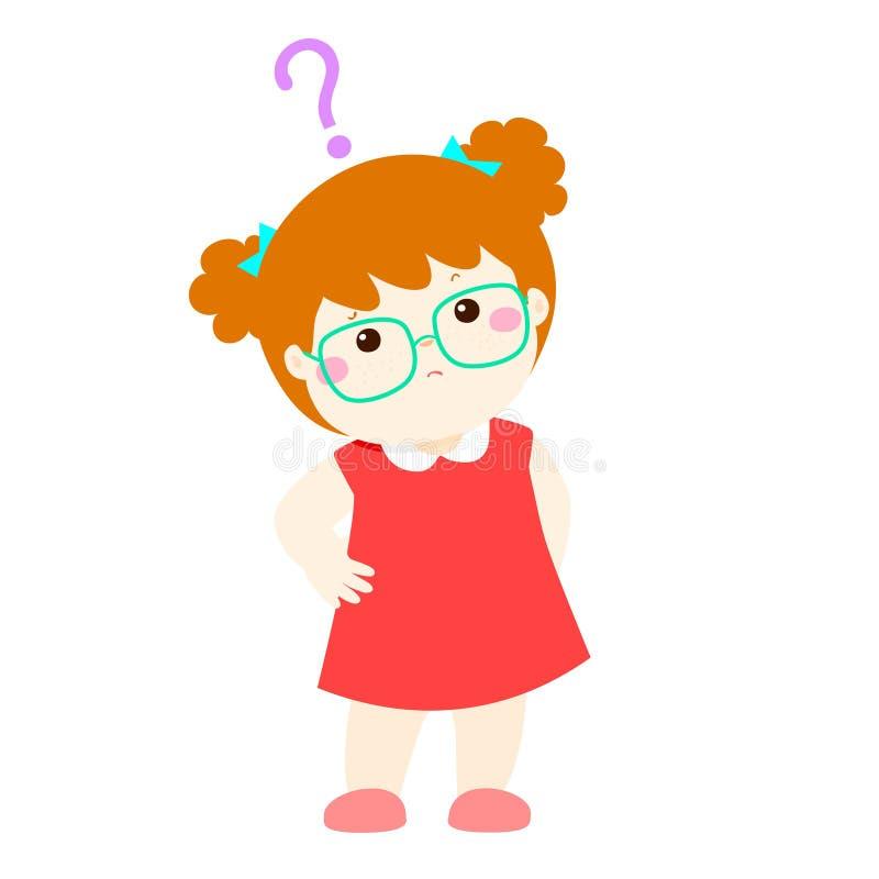 小女孩铜头发想知道漫画人物的穿戴玻璃 向量例证