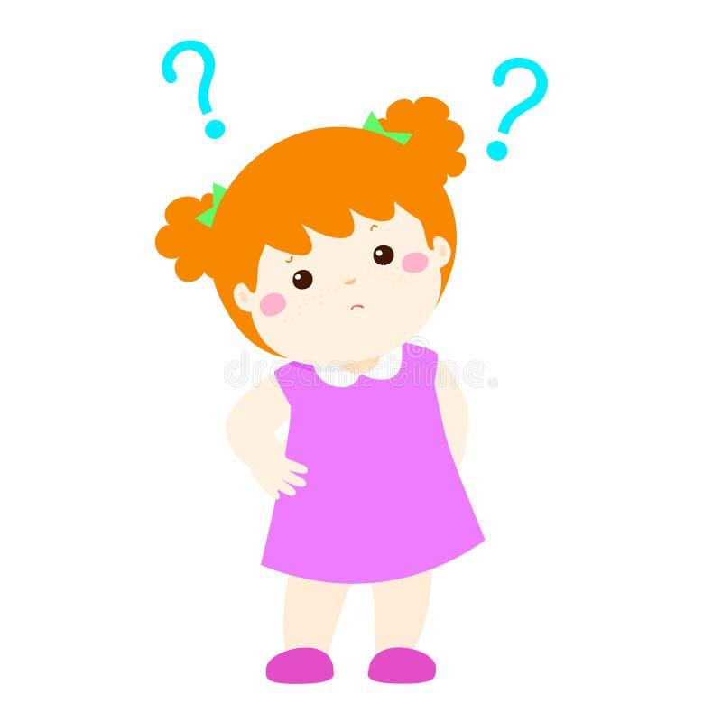 小女孩铜头发想知道的漫画人物 向量例证