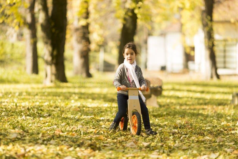 小女孩骑马自行车在秋天公园 图库摄影