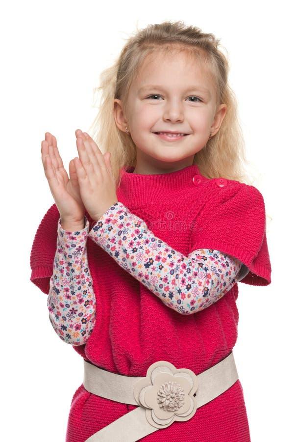 小女孩鼓掌 库存图片