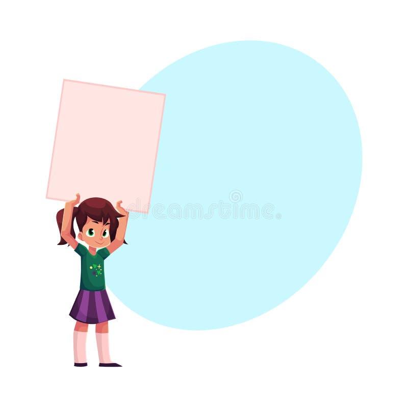 小女孩,孩子,拿着空白的空的海报,板的孩子 皇族释放例证