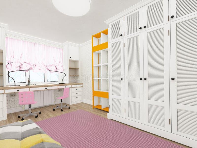 小女孩` s室-现代和舒适设计 3d翻译 库存例证