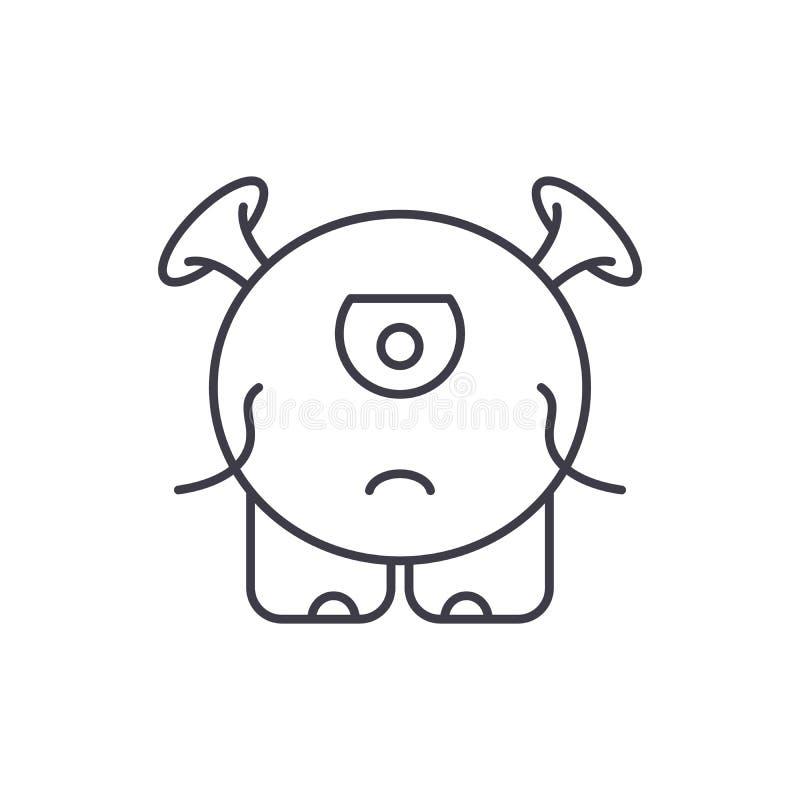 小妖怪线象概念 小妖怪传染媒介线性例证,标志,标志 库存例证
