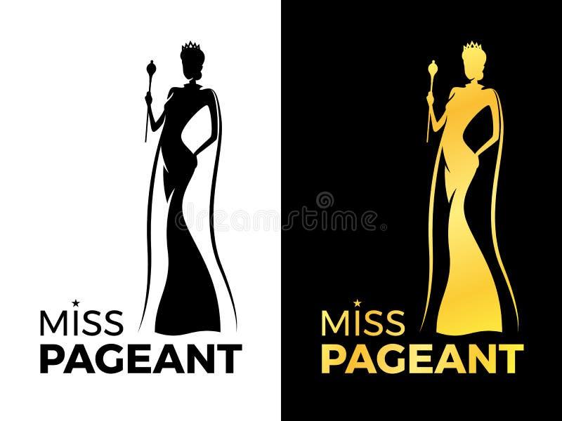小姐壮丽的场面与妇女女王/王后穿戴冠和秀丽海角举行鞭子传染媒介设计的商标标志 向量例证