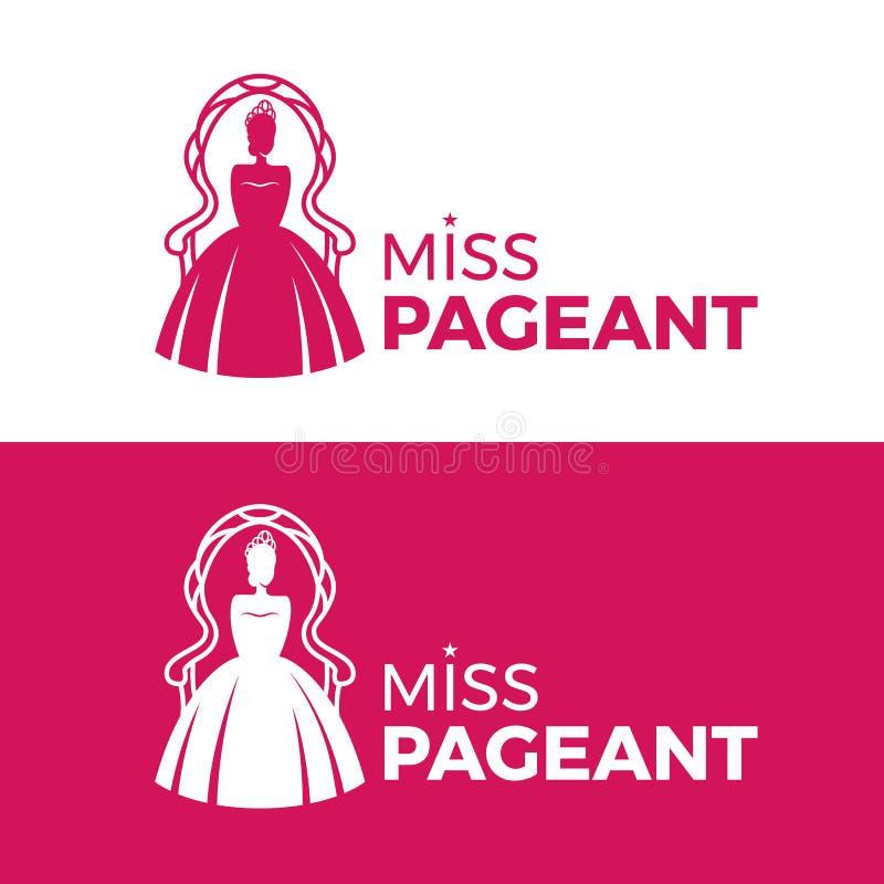 小姐壮丽的场面与桃红色选美皇后的商标标志佩带冠坐椅子传染媒介设计 皇族释放例证