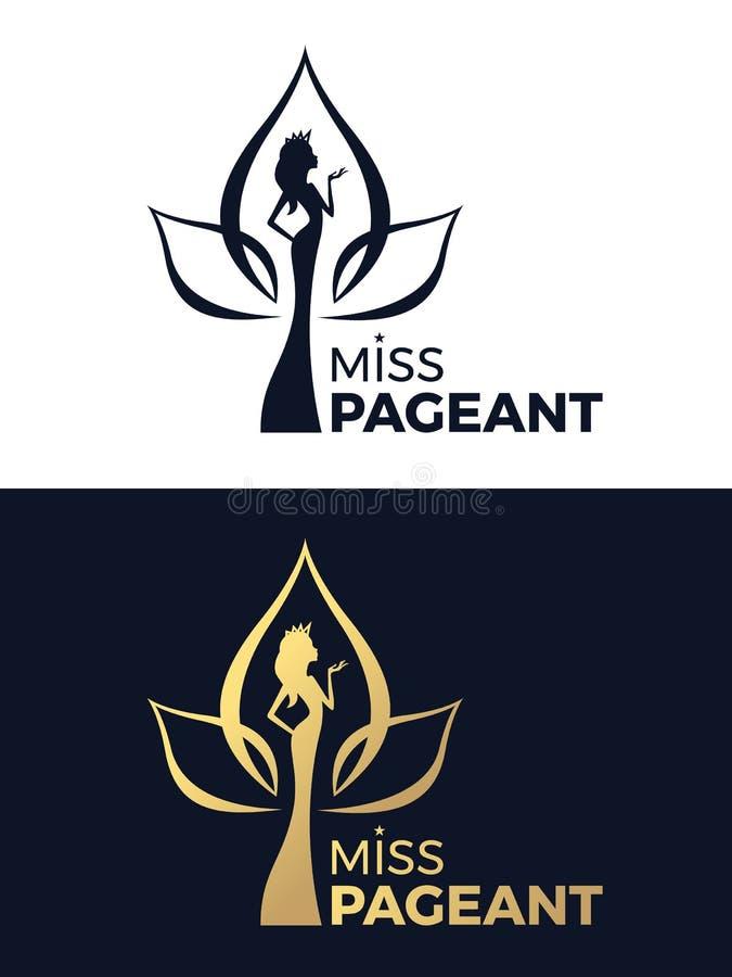 小姐壮丽的场面与的商标标志女服在莲花标志传染媒介设计的一个冠 向量例证