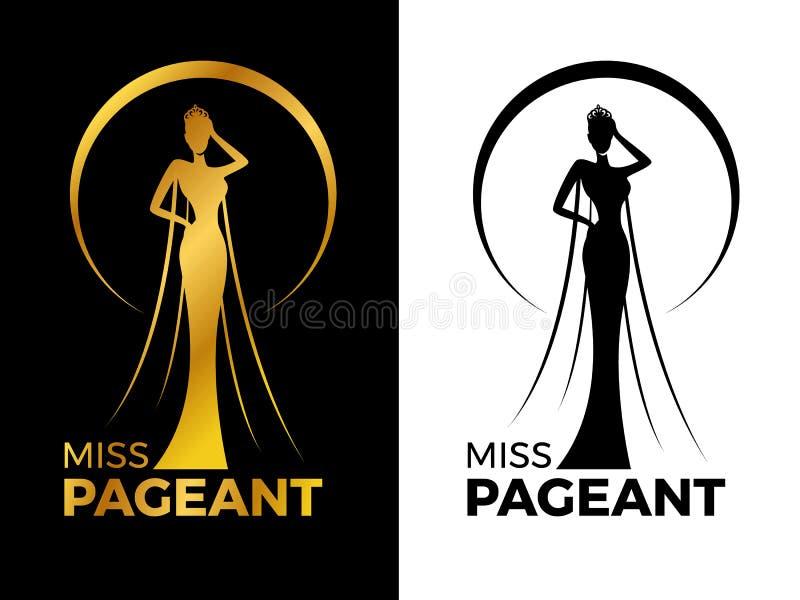 小姐夫人壮丽的场面与金子和黑人妇女穿戴冠的商标标志在圈子圆环传染媒介设计 向量例证