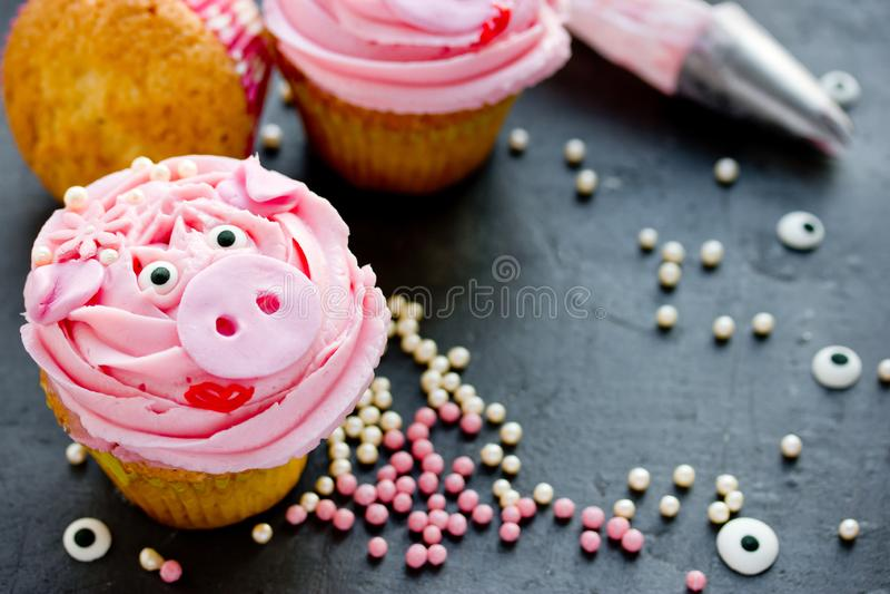 小姐贪心杯形蛋糕-美丽和用桃红色奶油装饰的可口蛋糕塑造了滑稽的贪心面孔 免版税库存照片