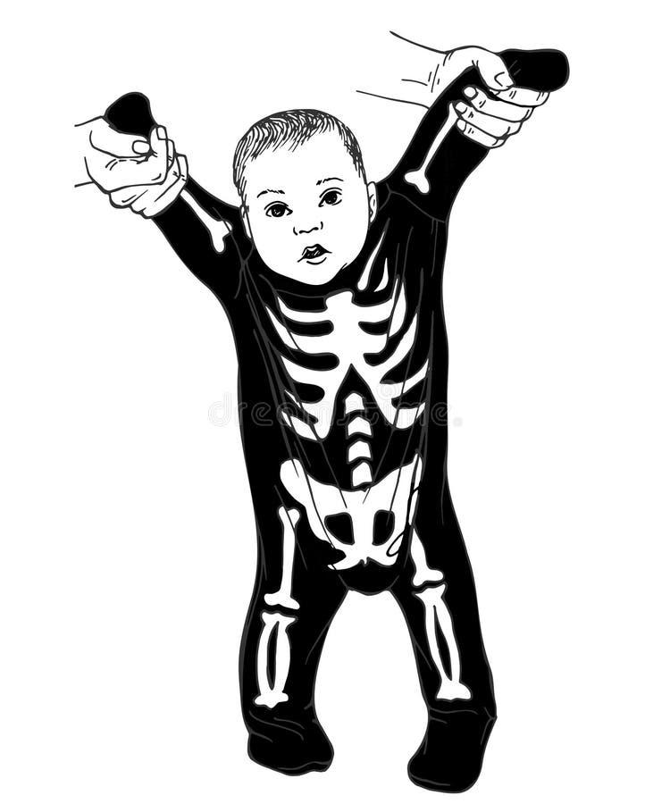 小婴孩穿戴的滑稽的骨骼 向量例证