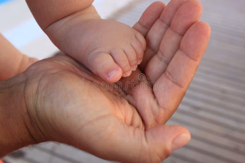 小婴孩脚在人的手,家庭关心,脚上天,父亲节 库存图片