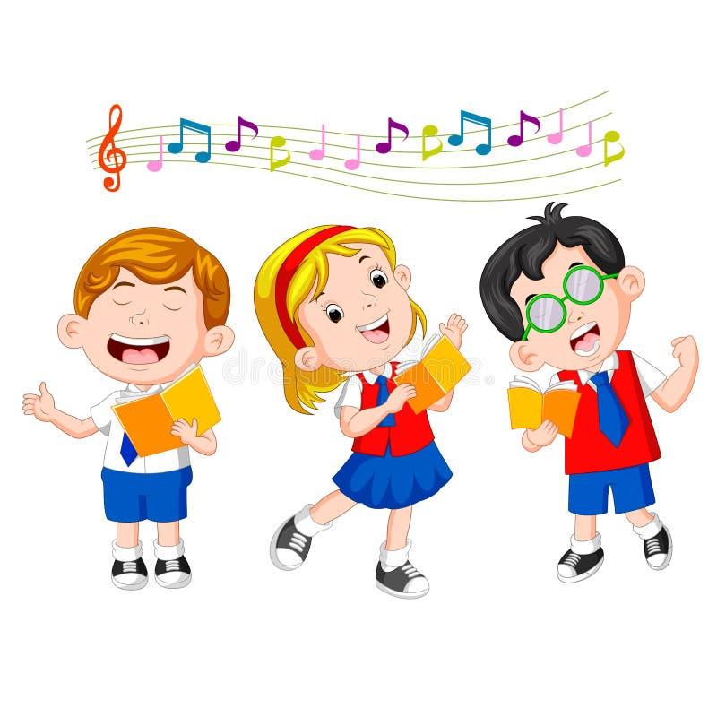 小学生唱歌 向量例证