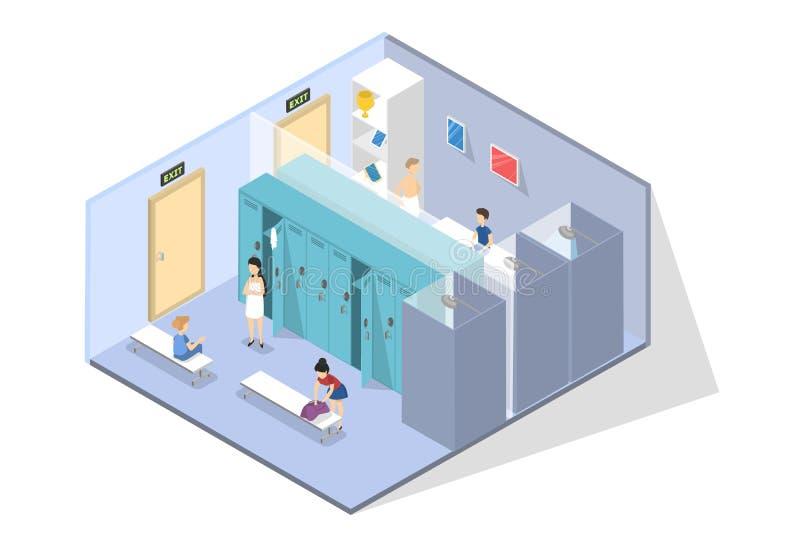 小学生在改变或更衣室 向量例证