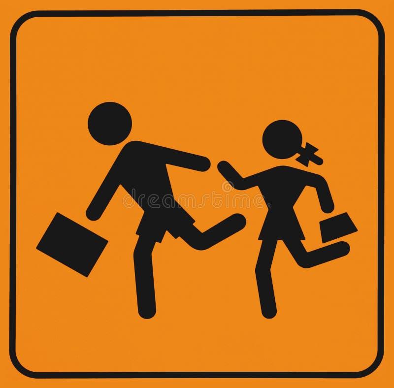 小学生横穿区域,小心 交通标志 皇族释放例证