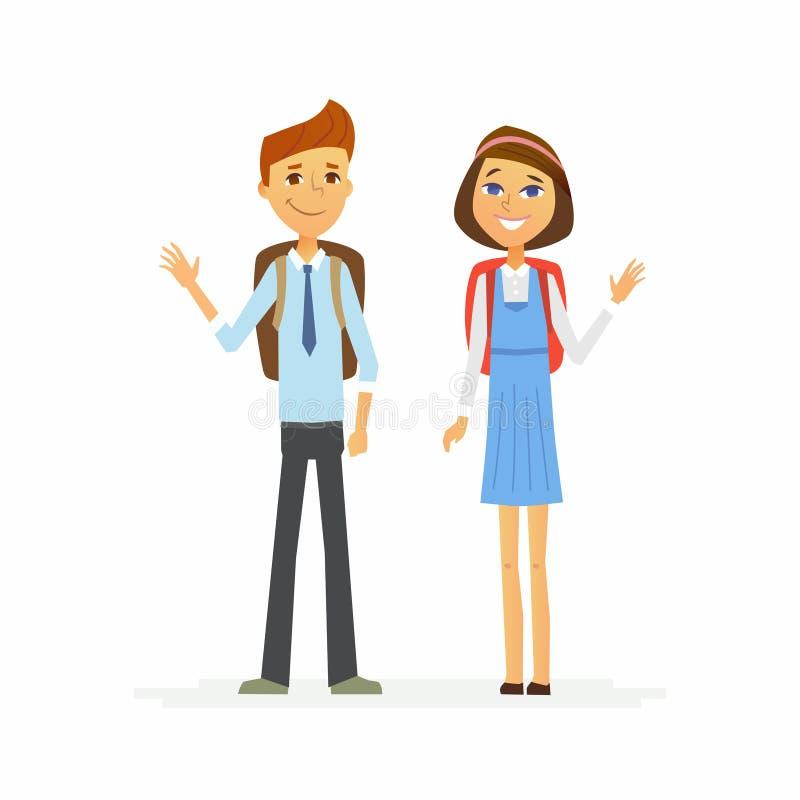 小学生-愉快的男孩和女孩字符  皇族释放例证