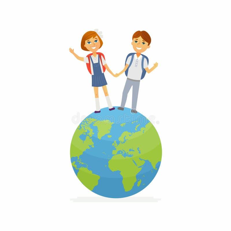 小学生-愉快的男孩,地球的女孩字符  向量例证