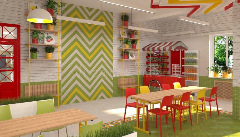 小学生` s军用餐具的内部 3D餐厅的形象化学童的 库存例证