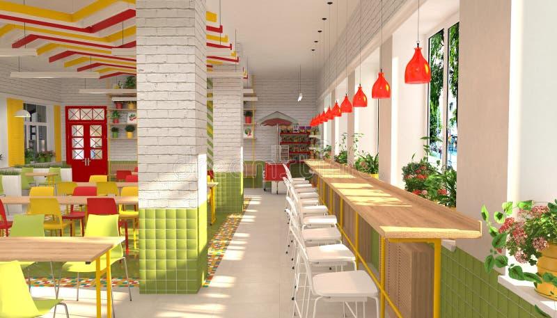 小学生` s军用餐具的内部 3D餐厅的形象化学童的 皇族释放例证