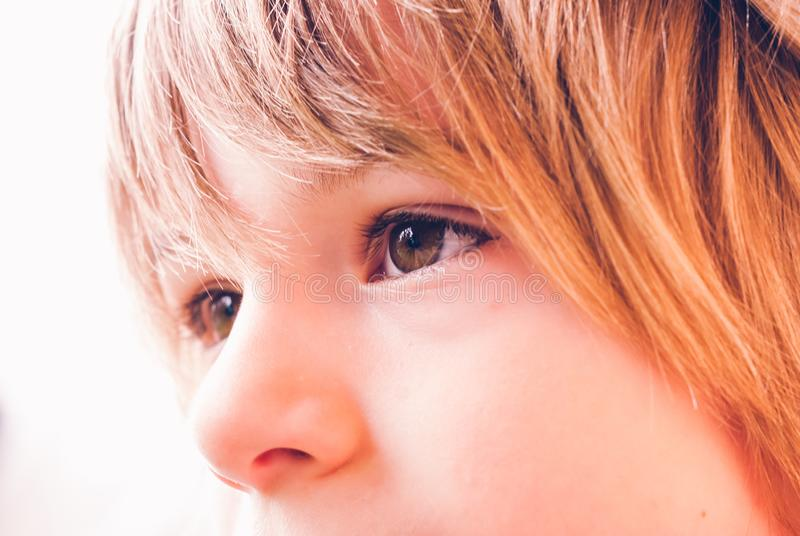 小孩严肃的面孔表示室外知觉连接 图库摄影