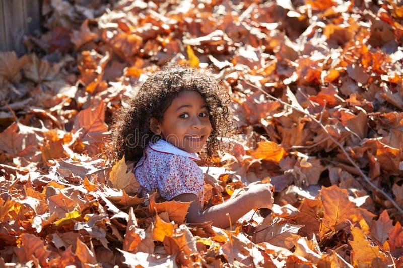 小孩使用与秋叶的孩子女孩 库存照片
