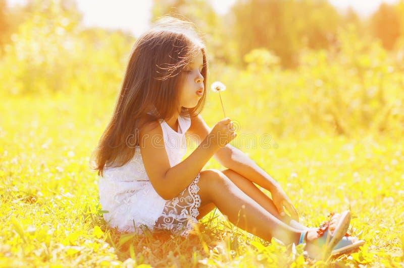 小孩吹的蒲公英在晴朗的夏日 免版税库存照片