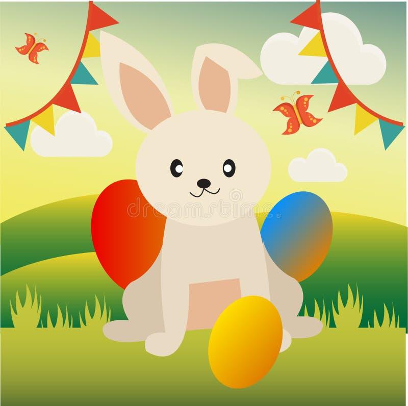 小孩和贺卡的逗人喜爱和滑稽的东部兔宝宝 皇族释放例证