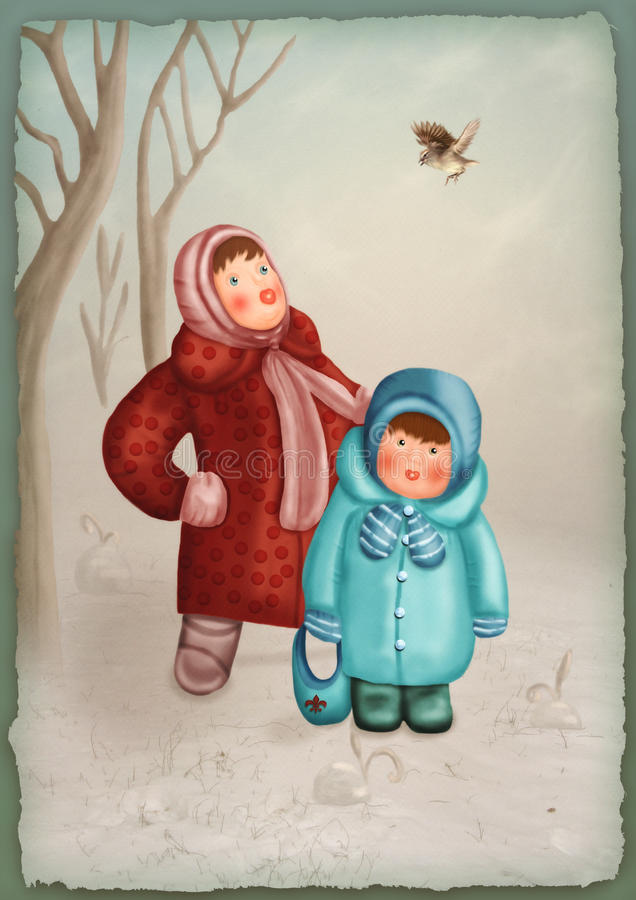 小孩在冬天森林里 向量例证