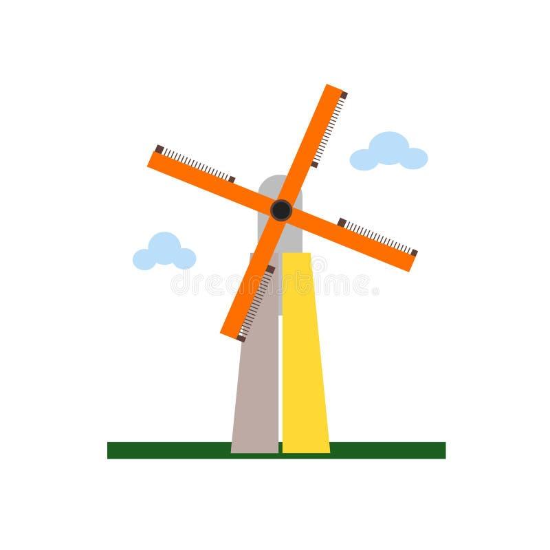小孩堤防风车象在whi和标志隔绝的传染媒介标志 皇族释放例证