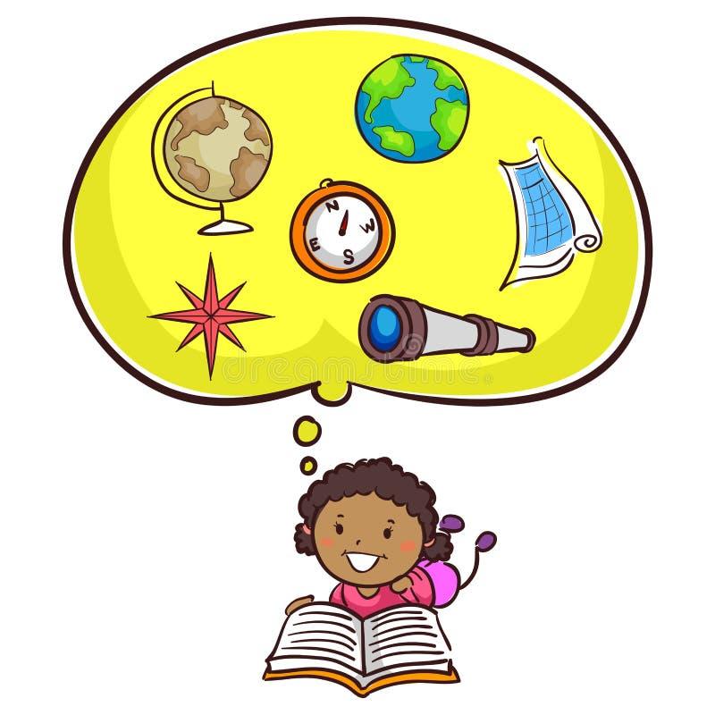 小孩女孩阅读书关于地理 向量例证