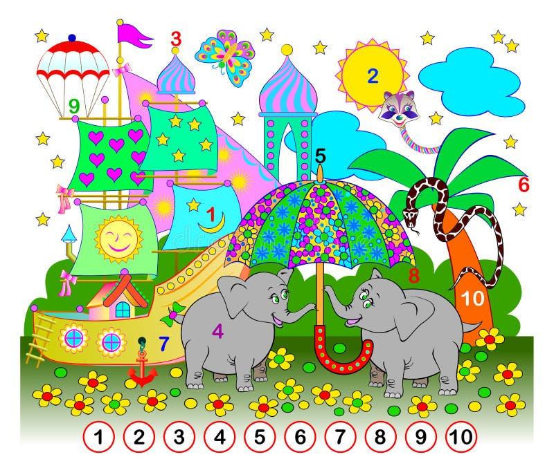小孩子的锻炼 需要看到从1的数字直到在图片掩藏的10 逻辑难题比赛 库存例证