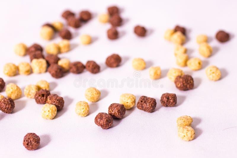 小孩开始吃玉米圈,吃巧克力或香草奶 免版税库存图片