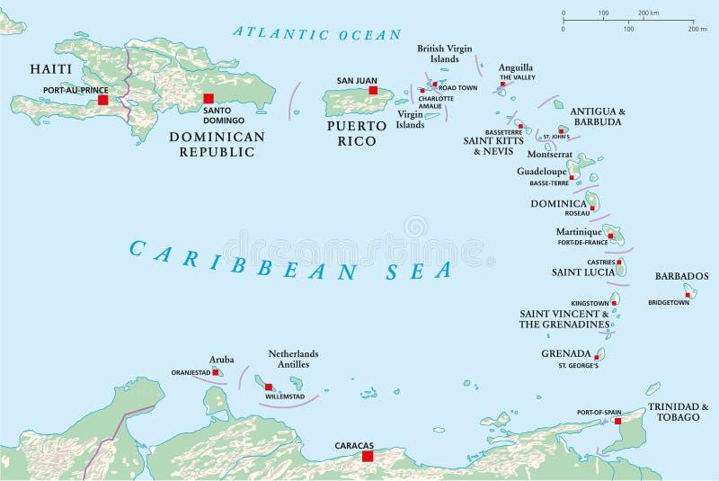 小安的列斯群岛,海地,多米尼加共和国 向量例证