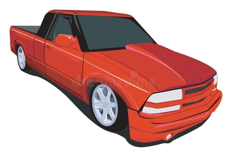 小室延长的红色卡车 免版税库存图片