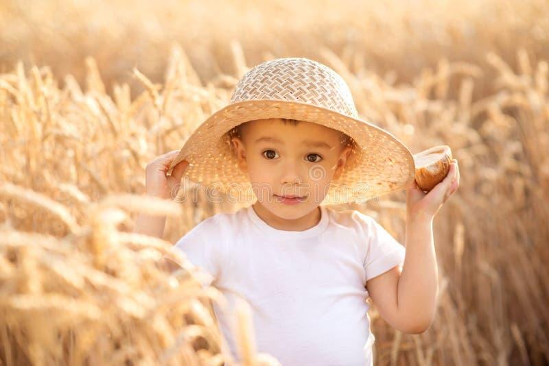 小小孩孩子画象草帽身分的在拿着面包的金黄钉中的麦田 夏天在国家 免版税图库摄影