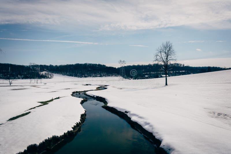 小小河通过在农村卡洛尔的一片积雪的农田 库存照片