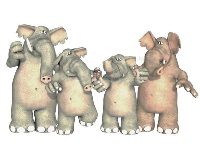 小小牛椰子大象在掌上型计算机词根附近的系列母亲 向量例证