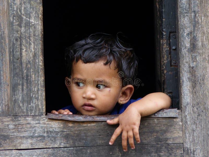 小尼泊尔女孩 库存照片