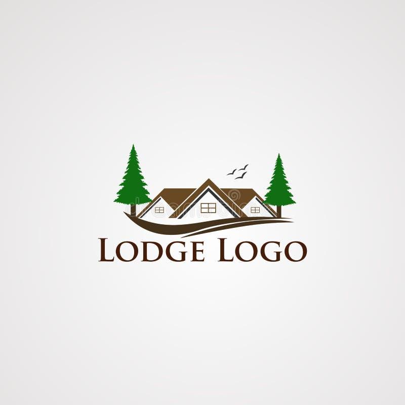 小屋与杉木,元素现代不动产和两树的商标传染媒介,是公司的象 向量例证