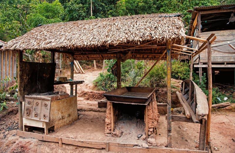 小屋在boca de瓦莱里亚,巴西 与干草屋顶的原始居住的小屋 农场或村庄回归线的与小屋 Eco 图库摄影