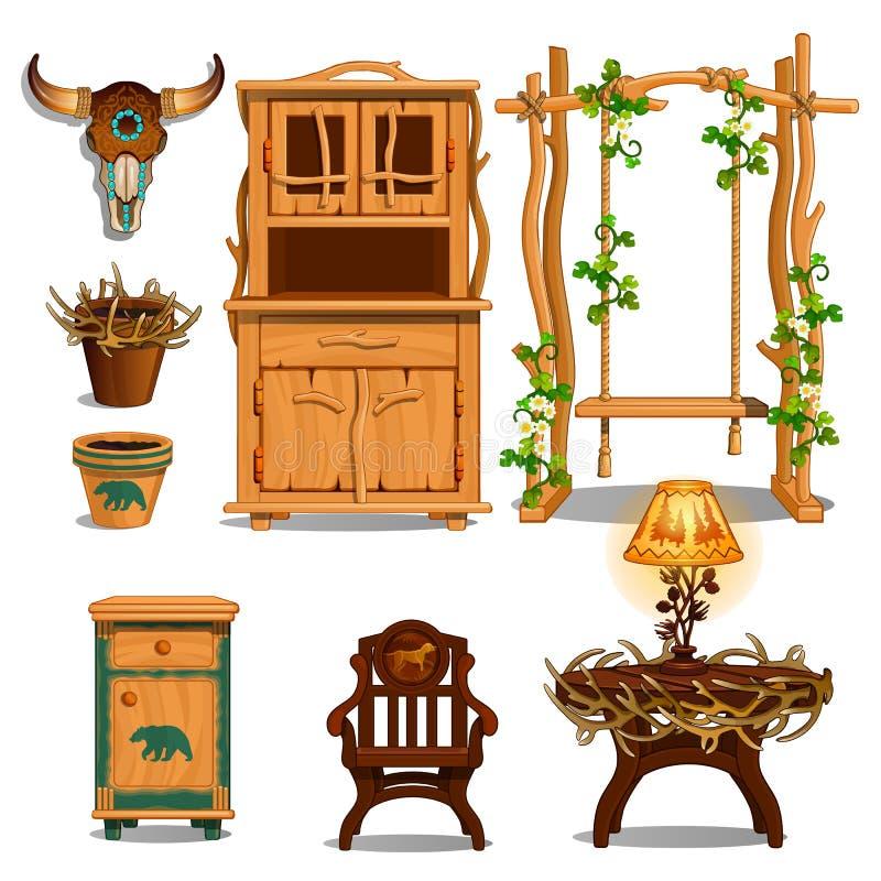 小屋林务员或猎人的穴的内部的家具 也corel凹道例证向量 向量例证