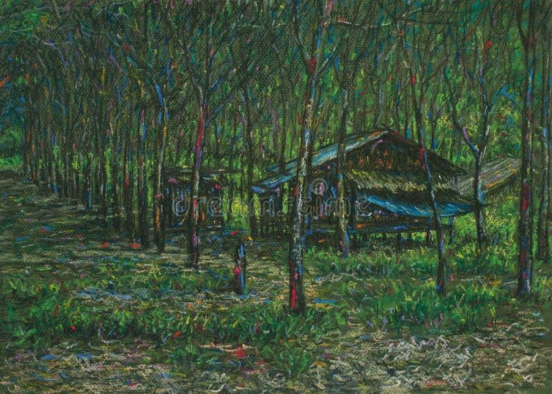 小屋淡色风景在森林里 皇族释放例证