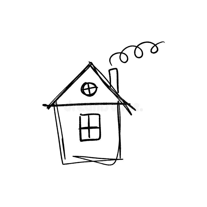 小屋简单的剪影 背景查出的白色 向量例证