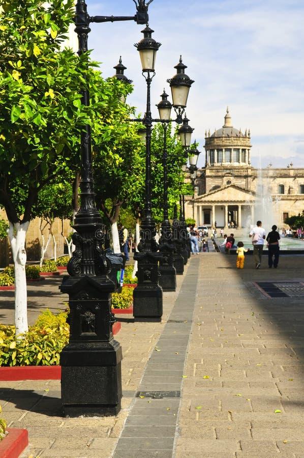 小屋hospicio主导的广场tapatia 免版税库存照片