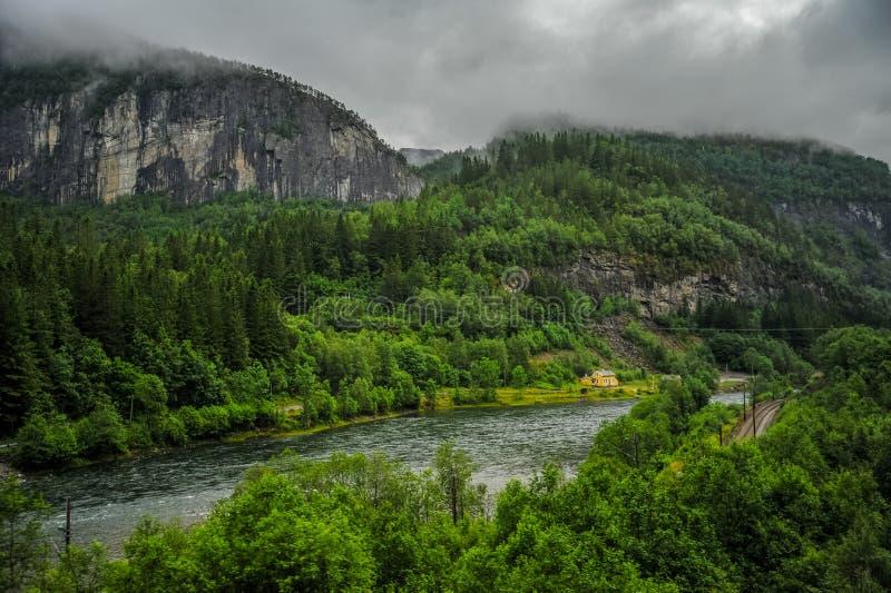 小山、山和河美好的挪威森林风景在一阴天 库存照片