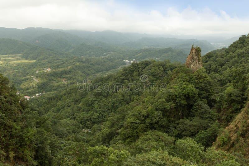 小山、谷、碎片和森林风景  库存图片