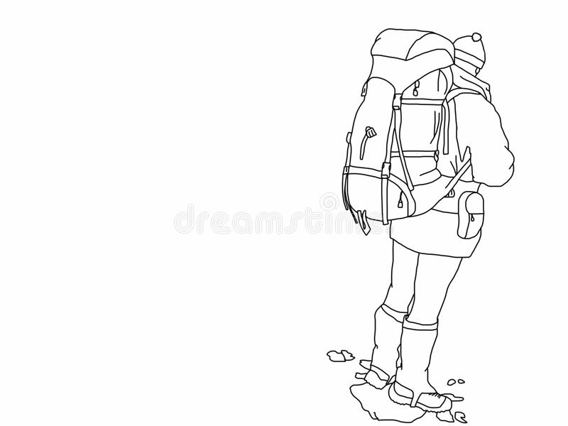 小山步行者例证没有背景 向量例证