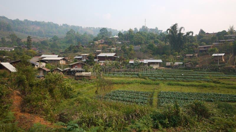 小山洪mae儿子泰国部落村庄 免版税库存图片