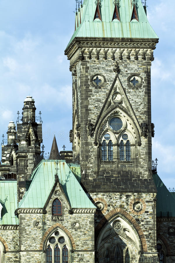 小山渥太华议会和平塔 免版税库存照片